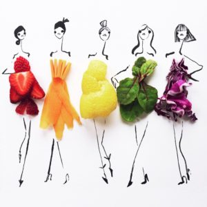 Fashion show girls sketched with food as clothes