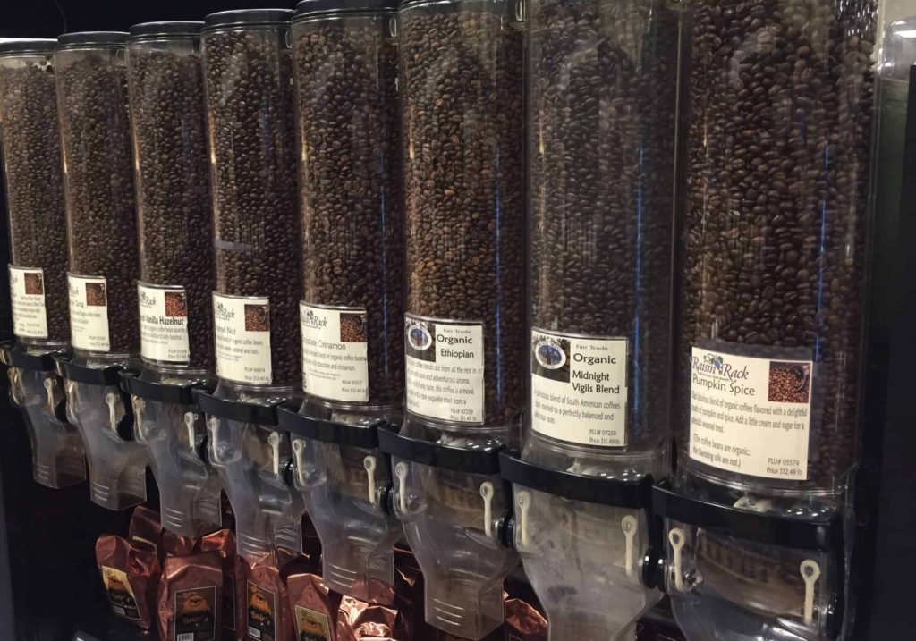 Bulk coffees available in the bulk section