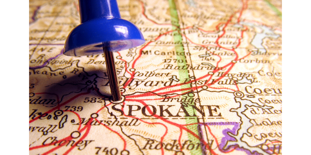 Map with pin on city of Spokane